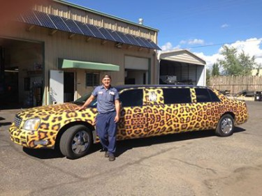 A leapard print limo